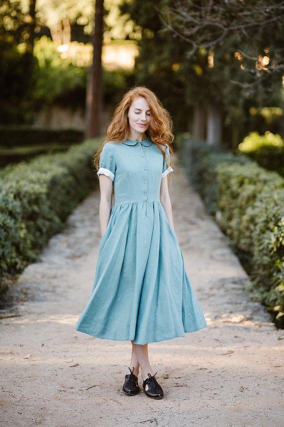 Mustard linen dress long sleeve dress casual dress plus size dress maternity dress eco friendly winter dress maternity gown