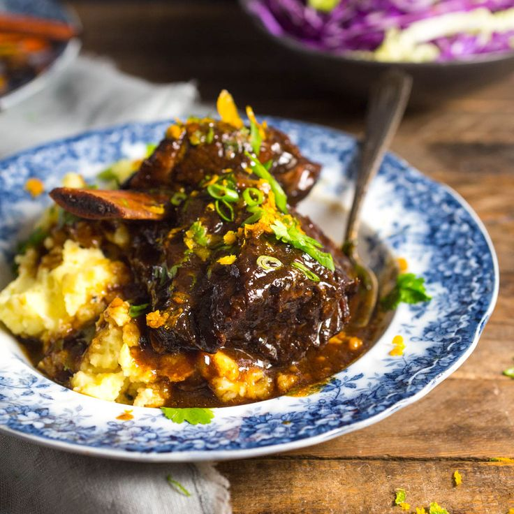 These braised short ribs are cooked low and slow in a delectable sauce flavored with soy, honey, orange and Chinese 5-spice powder. A hearty cold-weather recipe!