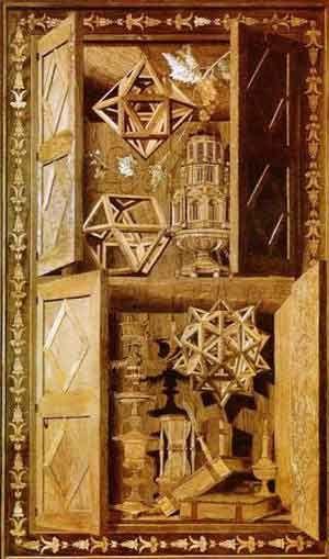 Significato dei Solidi Platonici - Fra' Giovanni da Verona - Tarsia con Rombododecaedro Stellato, Cubottaedro e Grande Dodecaedro Stellato - S. Maria in Organo - Verona