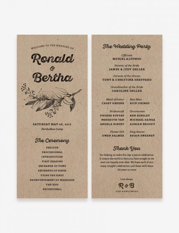 Printable rustic wedding program design. Get this printable invitation design at www.inatondesign.com