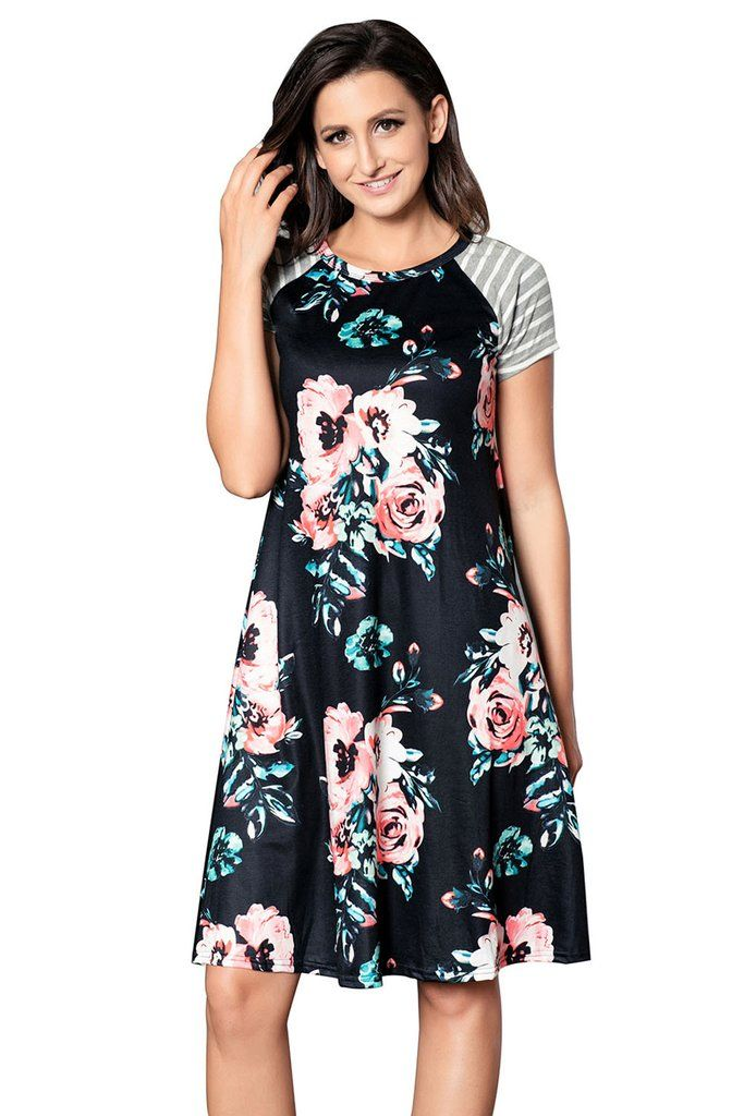 Robe Fleurie Noire Manche Courte Raye Trapeze Ample MB61596-102 – Modebuy.com