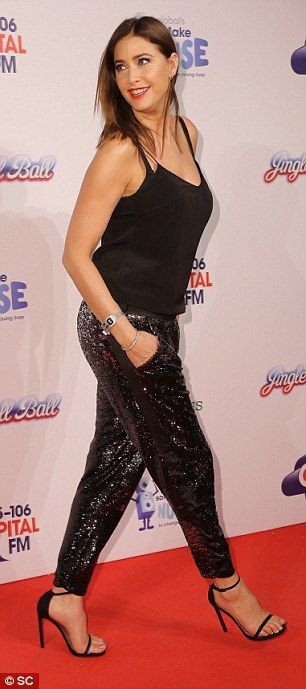 the sparkly trousers seemed to suit the brunette beauty best...