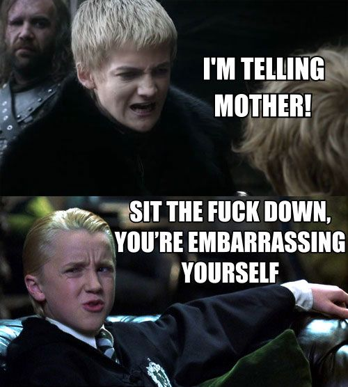 In which Draco Malfoy tells Joffrey Baratheon Lannister to sit down and shut up.  YES PLEASE.