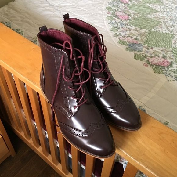 New Patent Wine Leila Stone Oxford Boots Love these wine colored oxford boots Size 8. Soft lined inside. Will instantly elevate any outfit. Only worn to try on.  Leila Stone Shoes Lace Up Boots