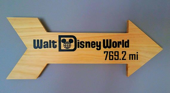 Disney World or Disneyland Attractions Wood Distance Marker Miles Arrow Sign