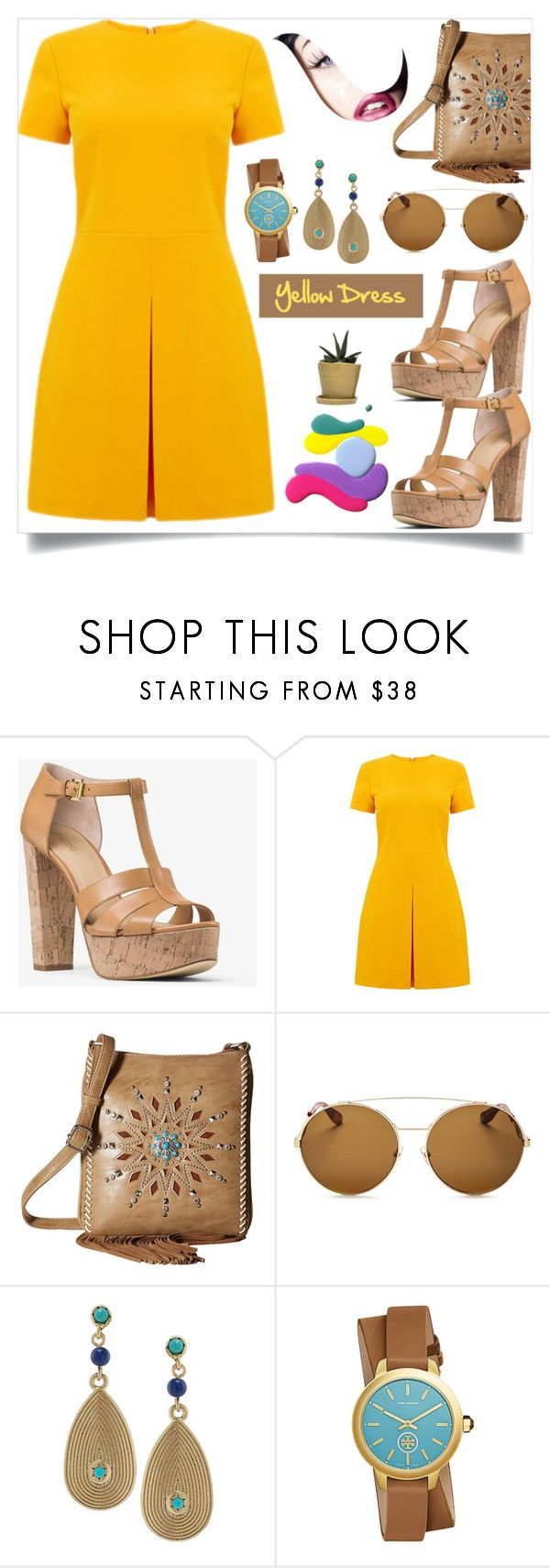 """""""Yellow dress"""" by spica-caracterielle ❤ liked on Polyvore featuring MICHAEL Michael Kors, Warehouse, M&F Western, Givenchy, Lauren Ralph Lauren, Tory Burch and yellowdress"""