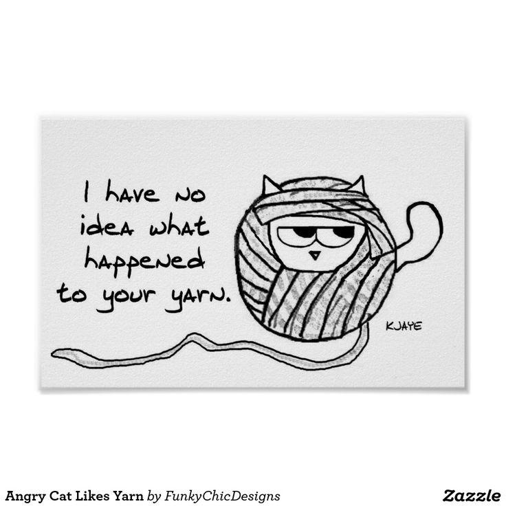 O gato irritado gosta do fio poster