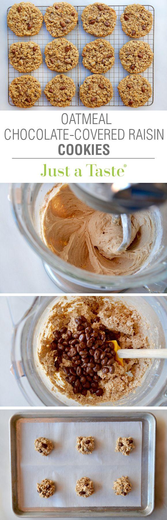 Oatmeal Chocolate-Covered Raisin Cookies #recipe via justataste.com