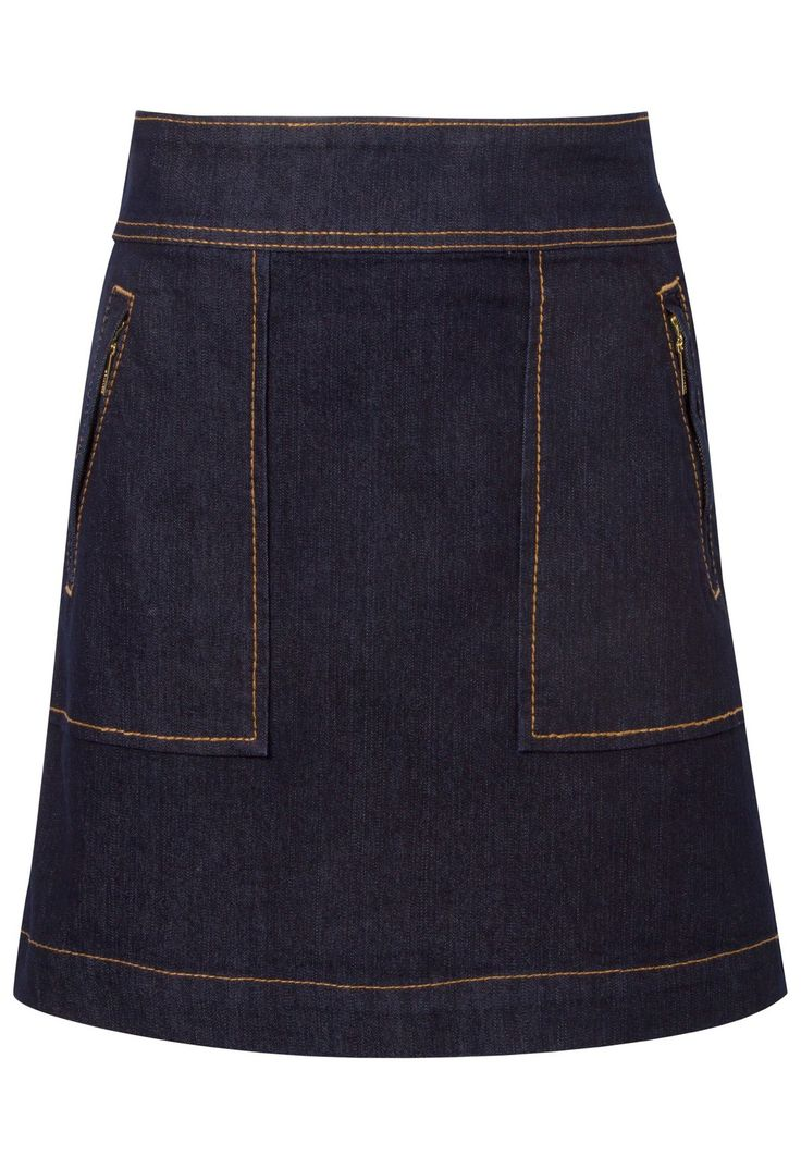 Saia jeans bolso pesponto - azul na @oqvestir