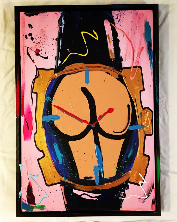TIME PIECE OF ASS, 40 x 60, acrylic paint on canvas, framed