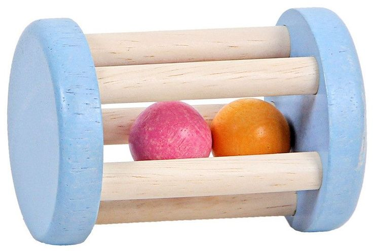 A traditional wooden rattle featuring two coloured, round balls. Made of ethically sourced wood, this rattle is a fun and educational early learning toy.