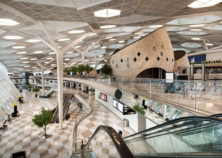 "Giant wooden ""cocoons"" feature inside the new terminal at Baku airport in Azerbaijan."