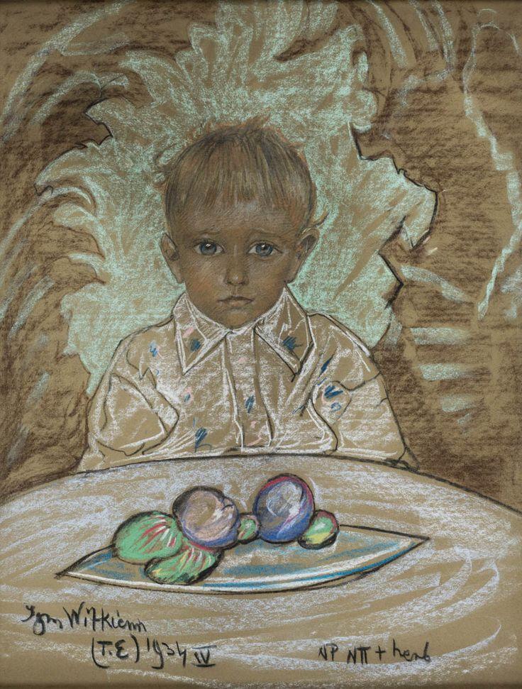STANISŁAW IGNACY WITKIEWICZ(WITKACY) (1885 - 1939)  PORTRET CHŁOPCA, 1934   pastel, papier / 63 x 47,5 cm w świetle oprawy  sygn., dat. i opisany: Witkiewicz/ (T.E) '934 IV NP Nπ + herb