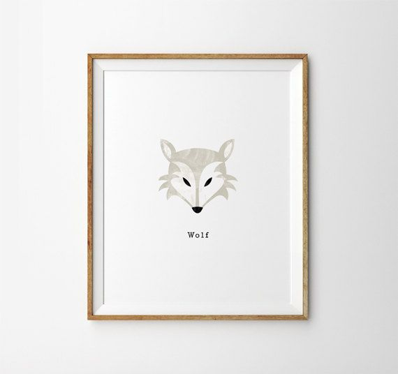 Children's Wolf Wall Print  Watercolour Detail by CocoEllaDesigns