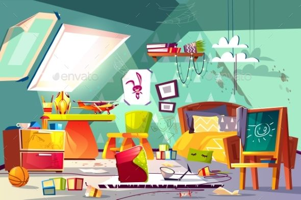 Messy Child Attic Bedroom Interior Cartoon Vector With Images
