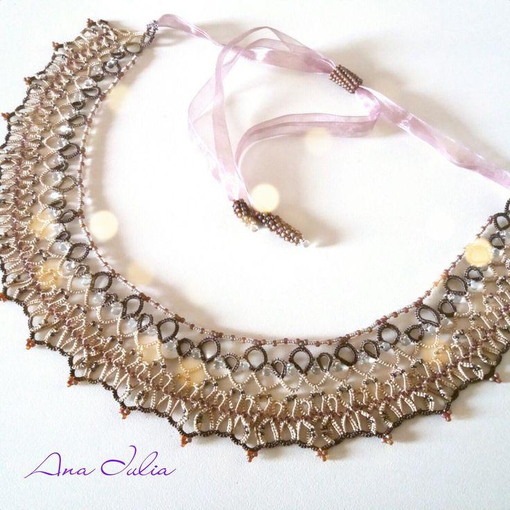 Juliette necklace  - Ankars Tatting Lace by AnaIuliaTattingLace on Etsy
