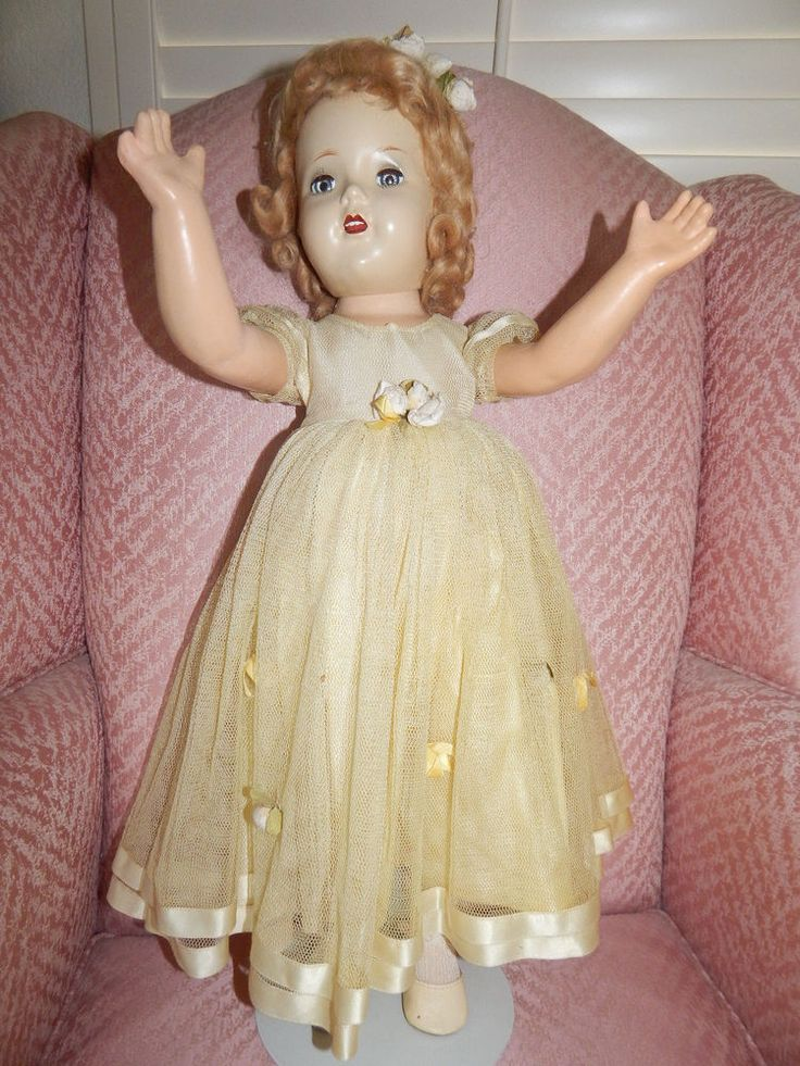 "ALEXANDER 24"" COMPOSITION PRINCESS ELIZABETH BRIDESMAID IN TAGGED YELLOW GOWN #MadameAlexander #DollswithClothingAccessories"