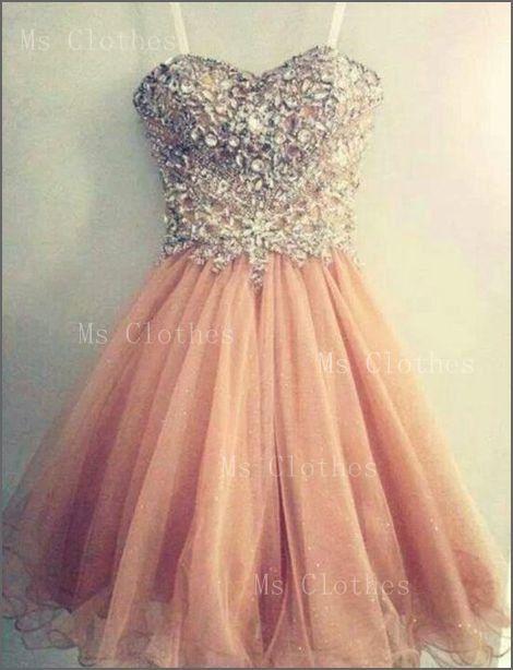 Custom Made Strapless A-line Rhinestone Sequin Short Prom Dresses, Homecoming Dresses, Dress For Prom, Formal Dresses 2014