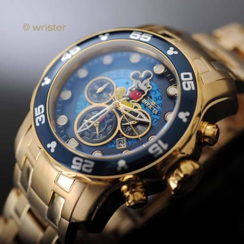 Invicta Disney Mickey Mouse Pro Diver Scuba Gold IP SS Blue Dial L.E. Mens Watch - http://scuba.megainfohouse.com/invicta-disney-mickey-mouse-pro-diver-scuba-gold-ip-ss-blue-dial-l-e-mens-watch/