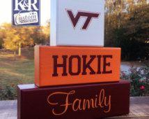 VT Hokies Virginia Tech Family painted block sign Blocks Shelf Sitter decor
