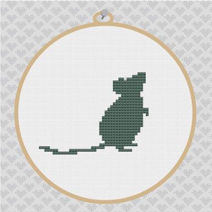 40OFF  Mouse Silhouette Cross Stitch PDF Pattern by kattuna, $3.50