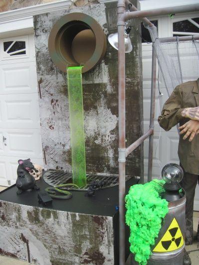 "green-tinted plexiglass for running liquid; green ""radioactive"" great stuff foam"