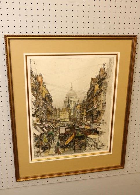 Color Etching Of The Fleet Street London By Luigi Kasimir Framed And Matted Under Gl In A Carved Gilt Frame Framing Measuring 23 X 30 Tall