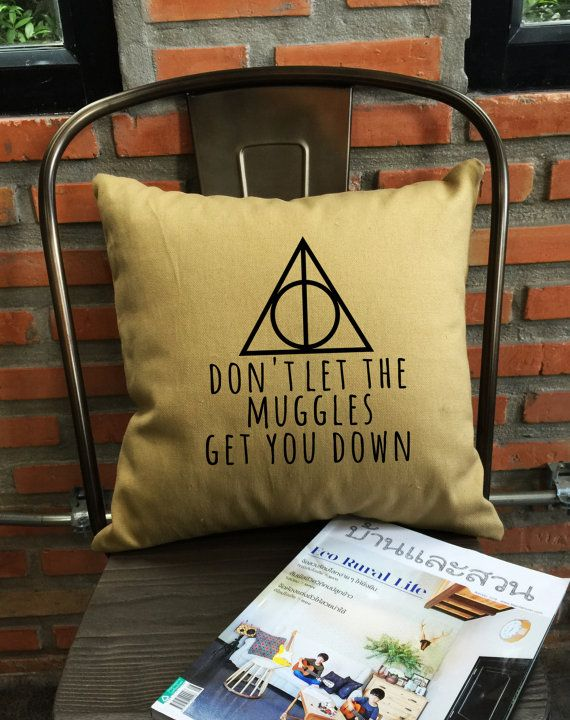 Deathly hallows Harry Potter Pillow Cover by Lessssismoreee