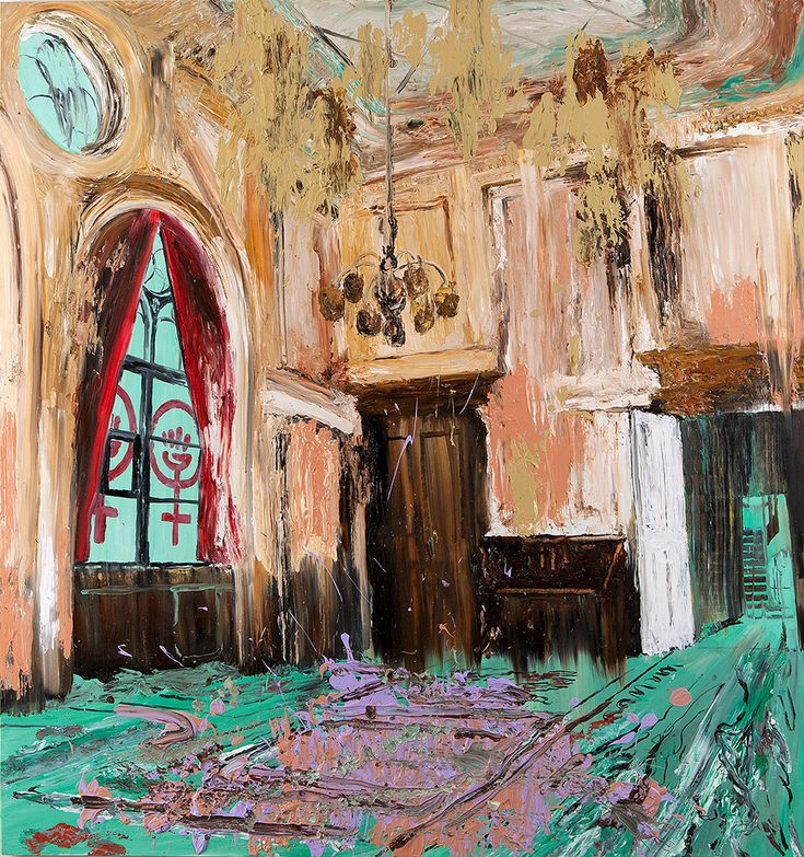 Mie Mørkeberg: untitled (Dannerhuset). 2012, oil on board, 160 x 150 cm