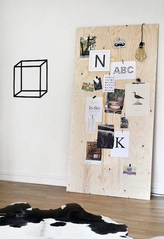 A wood plank for an inspiration board