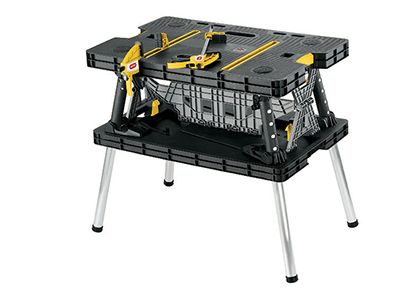 Keter folding work table (even includes two vice grips!).  Supports 1000 lbs.  $49.99 at your local Costco (Amazon has it for $89.99).  Yes, I have tested the 30 sec fold and unfold claim and it passes with flying colors.