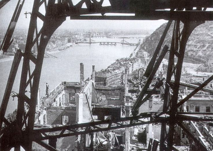 The view from the cupola of the Royal Place, Budapest at the end of the second World War.
