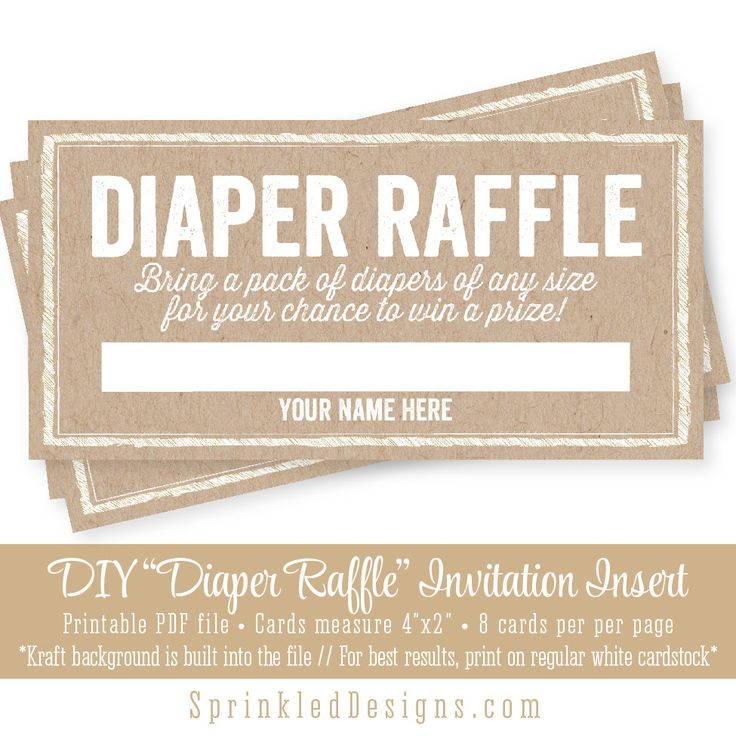 Printable Diaper Raffle Tickets - Rustic Brown Kraft Paper Baby Shower ...