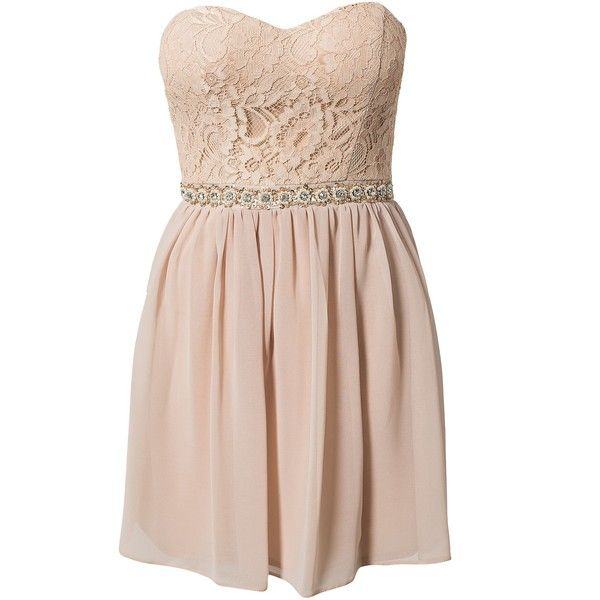 Elise Ryan Lace Bustier Dress (€62) ❤ liked on Polyvore featuring dresses, vestidos, robes, short dresses, nude, party dresses, womens-fashion, short pink dress, lace bustier and pink lace bustier
