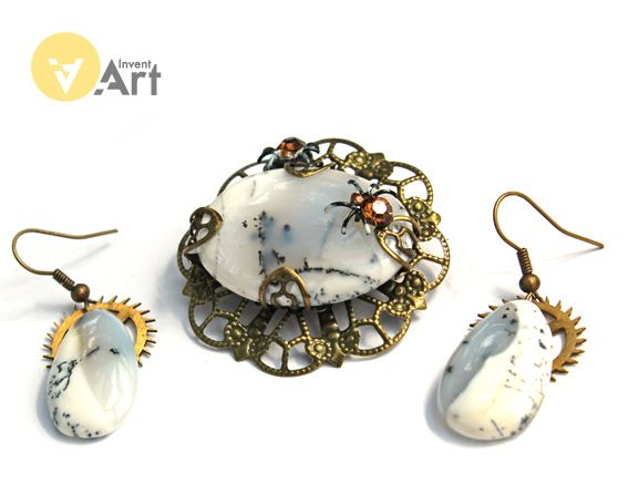 Snow Queen 2 set with white opal  by Invent-Art
