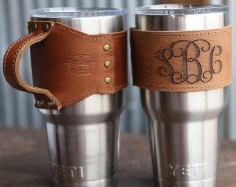 Personalized Christmas Gift – For the 30oz Yeti Handle The Rocket City Leather Drink Cooler Wrap Gift for Her, Gift for girlfriend, for wife