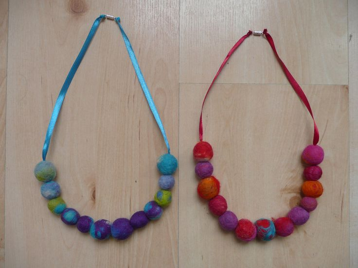 Necklaces with felt beads | Flickr - Photo Sharing!