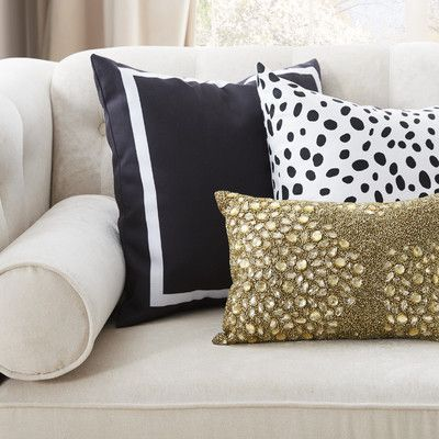 """Charlton Home Pekham Simple Square Polyester Throw Pillow Size: 18"""" H x 18"""" W, Color: Black"""