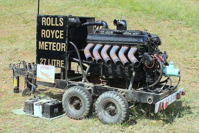 A Rolls Royce Meteor Engine - a stripped down Merlin aircraft engine (the supercharger remove), but the Meteor engine was still capable of producing 600 bhp from the 27 litre V12. The engine went on to power Cromwell, Comet and Centurion tanks as well numerous other vehicles