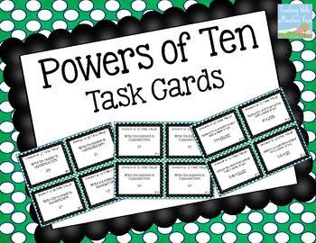 {FREE} Powers of Ten Task Cards 5.NBT.2