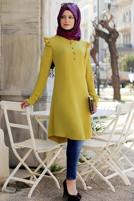 Gamze Polat Oksit Sarısı Stil Fırfırlı Tunik