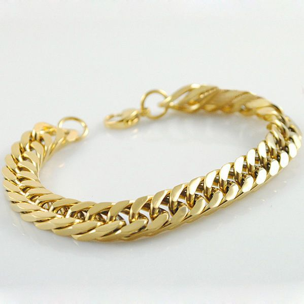 Mens Gold & Silver Bracelet |  Luxury 18K Plated Male Bangle | Masculine Jewelry