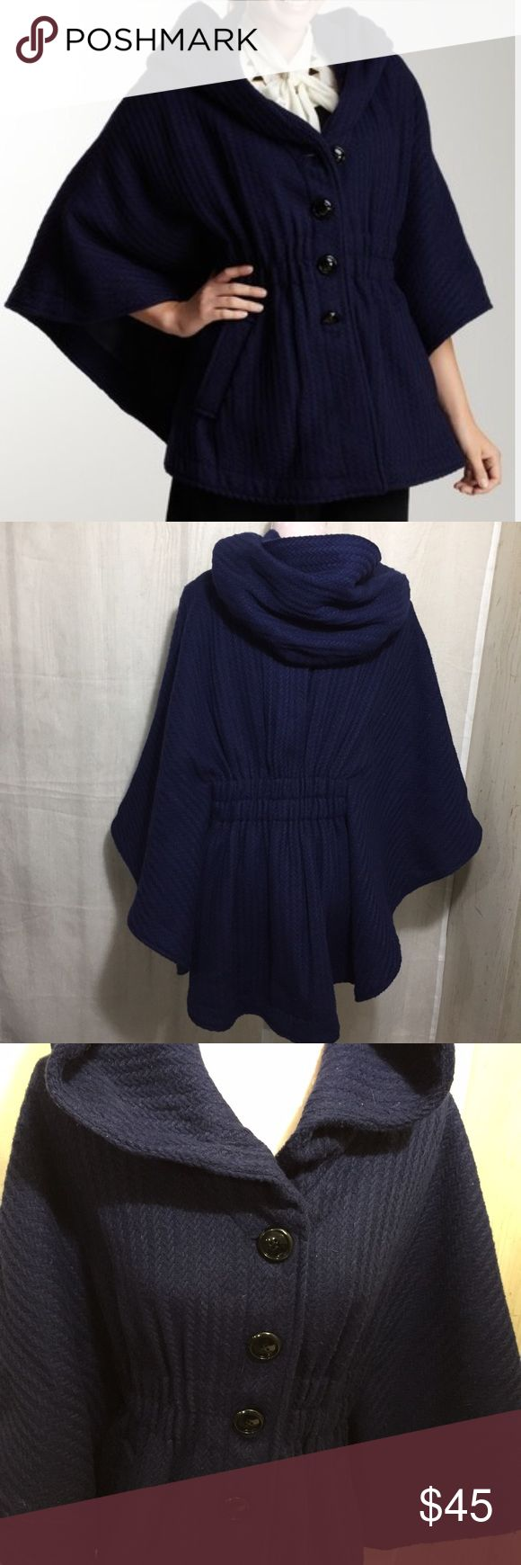"""Steve Madden Hood If I Could Cape in Navy Steve Madden 70s Mid-length Sleeveless Hooded Cape.  Oversize hood and covered pockets Elasticized waist and adjustable on the inside with snap tabs  Shell 60% polyester 29% acrylic 5% wool 3% cotton 3% nylon Lining 100% polyester Fabric does not stretch Dry clean  Length 28.5"""" Sleeve length 20""""  Note will have to dry clean when you receive, which will be reflected in final price.  Photo from www.hautelook.com Steve Madden Jackets & Coats Capes"""