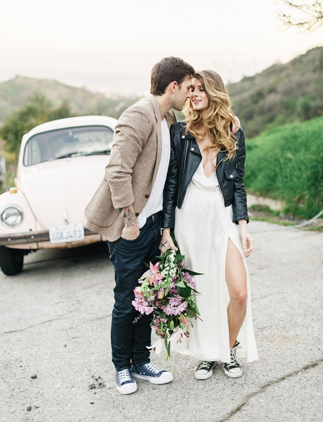 Leather Jacket + White dress for engagement. Love!