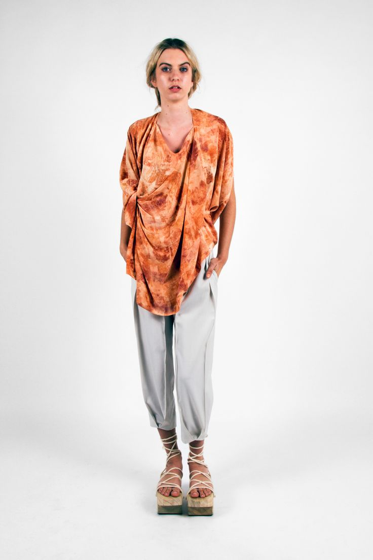 Nicole Wesseling; Zen 2013. Silk Crepe de Chine naturally printed OnionTop and woollen Pin Tuck Pant. Shoes: Steven Park of 6x4.  Photographer: James Black of Black Photographic.  Model: Kelly Pochyba.