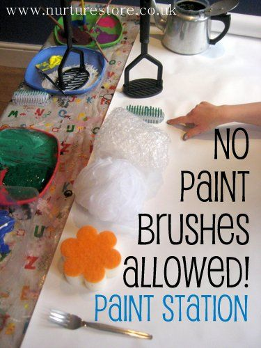 No Paint Brushes Allowed!  Paint Station: Modern Home Design, Paintings Stations, Paintings Ideas, Home Interiors Design, Brushes Paintings, Kids Paintings, Kids Art, Brushes Allowance, Paintings Brushes