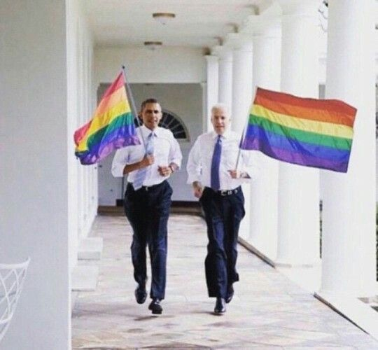 They are wearing different ties in these pictures which means that on at least two occasions Obama and Joe Biden have run around the whitehouse waving pride flags, and that makes me really happy