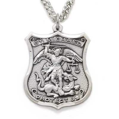 "St. Michael Medal, Patron of Police Officers, Sterling Silver Shield Medal Medal Size: 1 1/8"" Length Chain Size: 24"" Length"