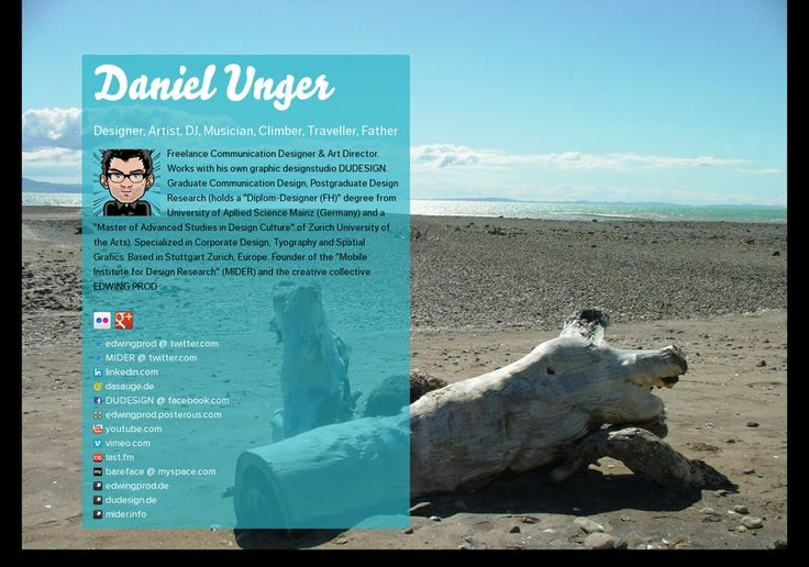 Daniel Unger's page on about.me – http://about.me/dudesign