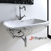 Lavabo sospeso Jazz cm 70 in ceramica bianca con decoro Lettering colore Nero monoforo predisposto 3 fori.